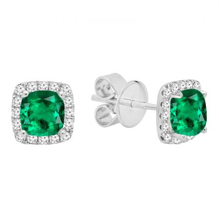 18k White Gold Each 4 Mm Cushion Cut Lab Created Emerald Round Diamond Halo Stud Earrings Dazzling Rock