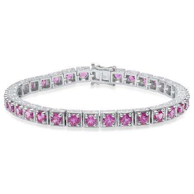 Sterling Silver 4 MM Each Round Lab Created Pink Topaz Ladies Tennis Bracelet