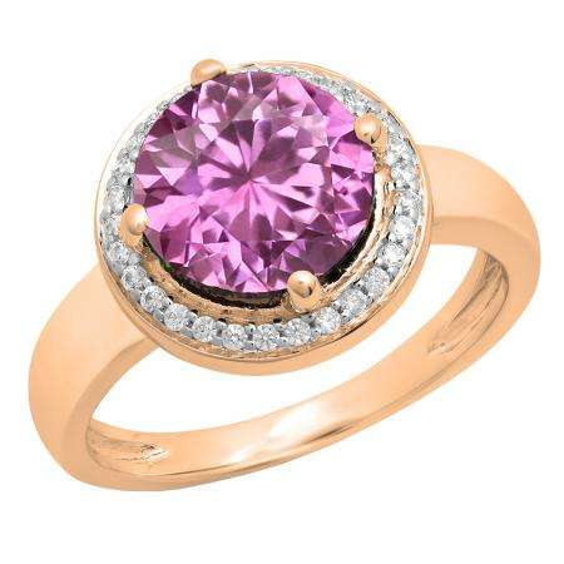 2.40 Carat (Ctw) 10K Rose Gold Round Blue & White Cubic Zirconia CZ Ladies Halo Style Wedding Bridal Engagement Ring