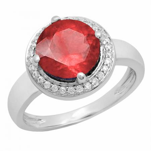 2.40 Carat (Ctw) 14K White Gold Round Blue & White Cubic Zirconia CZ Ladies Halo Style Wedding Bridal Engagement Ring