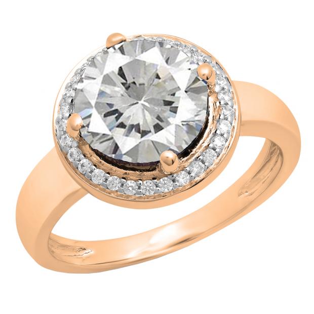 2.40 Carat (Ctw) 18K Rose Gold Round Blue & White Cubic Zirconia CZ Ladies Halo Style Wedding Bridal Engagement Ring