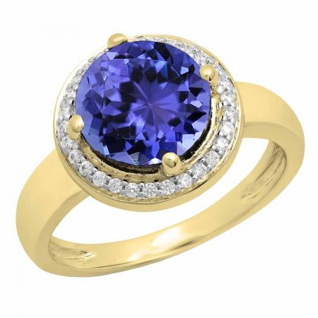 2.40 Carat (Ctw) 14K Yellow Gold Round Blue & White Cubic Zirconia CZ Ladies Halo Style Wedding Bridal Engagement Ring