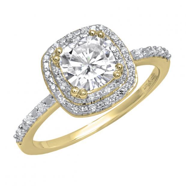 Dazzlingrock Collection 10K 5 MM Cushion Lab Created Gemstone /& Round White Diamond Ladies Engagement Ring Yellow Gold