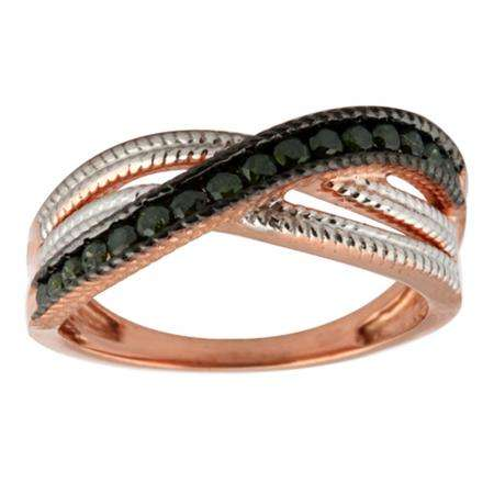 0.38 Carat (ctw) Sterling Silver Round Green Diamond Ladies Cocktail Swirl Right Hand Fashion Band