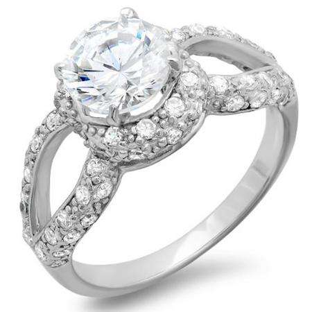 1.75 CT Platinum Plated Split Shank Ladies Round Cut Cubic Zirconia CZ Engagement Ring (Available in size 6 7 8)
