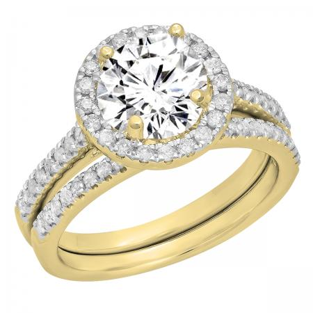 0.50 Carat (ctw) 10K Yellow Gold Round Diamond Ladies Halo Style Bridal Semi Mount Engagement Ring With Matching Band Set 1/2 CT (No Center Stone)