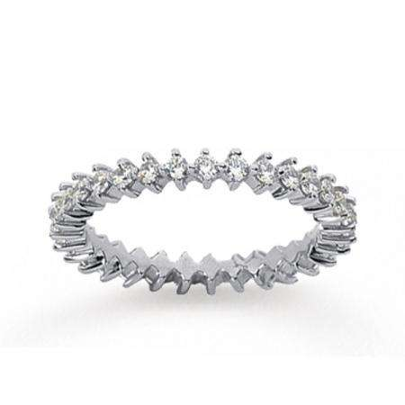 14K White Gold Real Diamond Eternity Round Open Prong Band (0.75 CT)