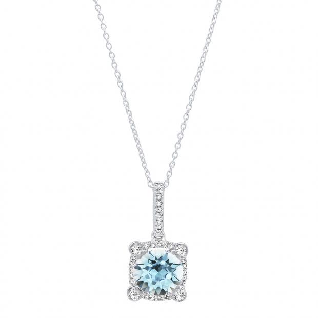 10K White Gold 6.5 MM Round Cut Aquamarine & Diamond Ladies Halo Pendant (Silver Chain Included)