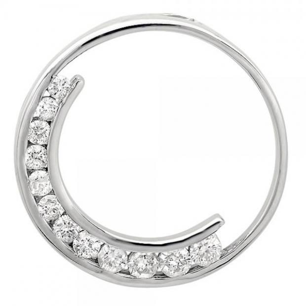 0.95 Carat (ctw) 14k White Gold Round Diamond Ladies Circle of Life Journey Pendant 1 CT