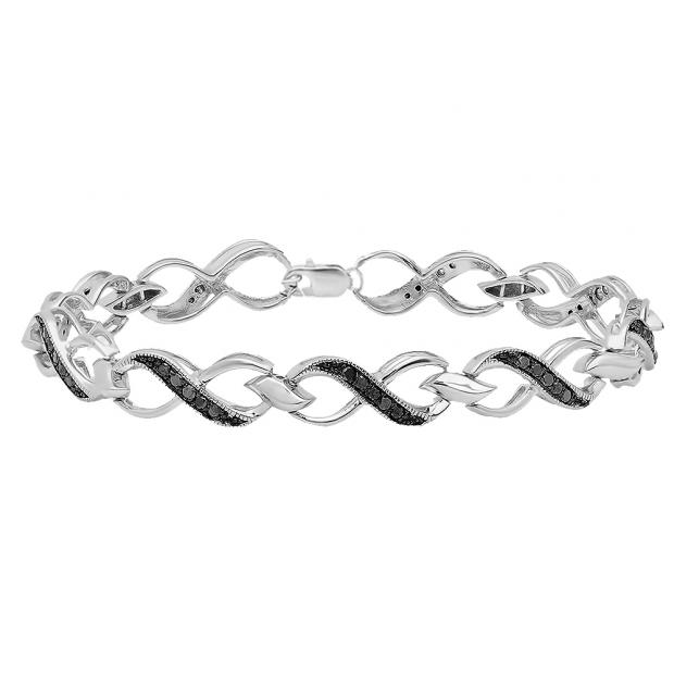 0.75 Carat (ctw) Sterling Silver Round Black Diamond Ladies Infinity Heart Tennis Link Bracelet 3/4 CT