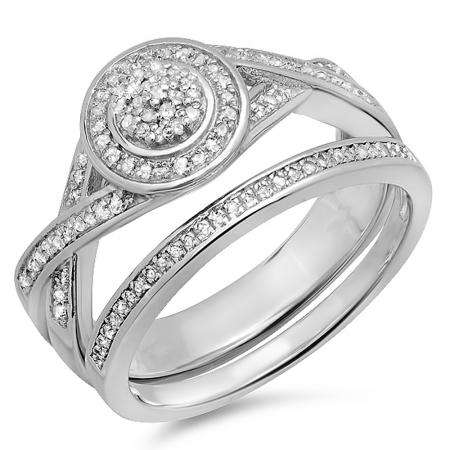 0.40 Carat (ctw) Sterling Silver Round White Diamond Womens Micro Pave Engagement Ring Bridal Set
