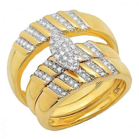 0.35 Carat (ctw) 18K Yellow Gold Plated Sterling Silver Round White Diamond Men & Womens Micro Pave Engagement Ring Trio Bridal Set 1/3 CT