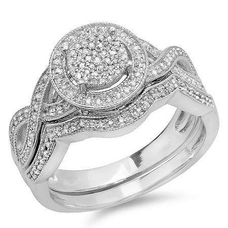 0.55 Carat (ctw) Sterling Silver Round White Diamond Womens Micro Pave Engagement Ring Set 1/2 CT