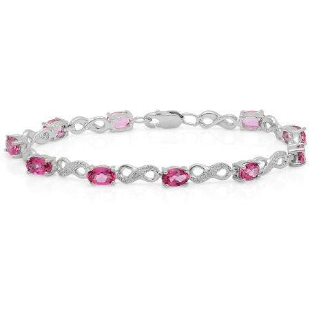 6.86 Carat (ctw) Sterling Silver Real Oval Cut Pink Topaz & Round White Diamond Ladies Infinity Link Tennis Bracelet