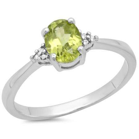 0.98 Carat (ctw) Sterling Silver Oval Cut Peridot & Round White Diamond Ladies Bridal Promise Engagement Ring 1 CT