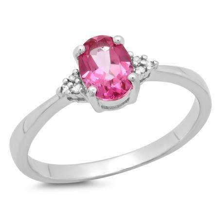 1.13 Carat (ctw) Sterling Silver Oval Cut Pink Topaz & Round White Diamond Ladies Bridal Promise Engagement Ring