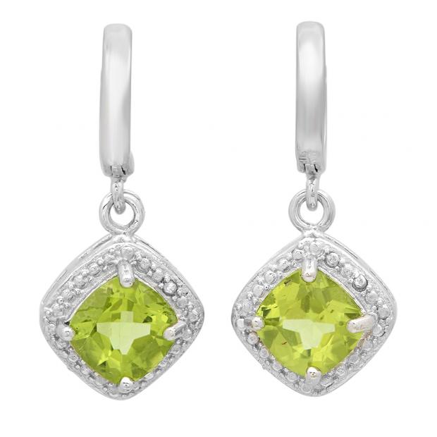 1.02 Carat (ctw) Sterling Silver Cushion Shape Peridot & Round White Diamond Ladies Halo Dangling Drop Earrings