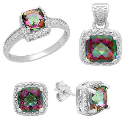 Sterling Silver Cushion Cut Rainbow Quartz & Round Diamond Accent Ladies Halo Style Engagement Ring, Earring & Pendant Set