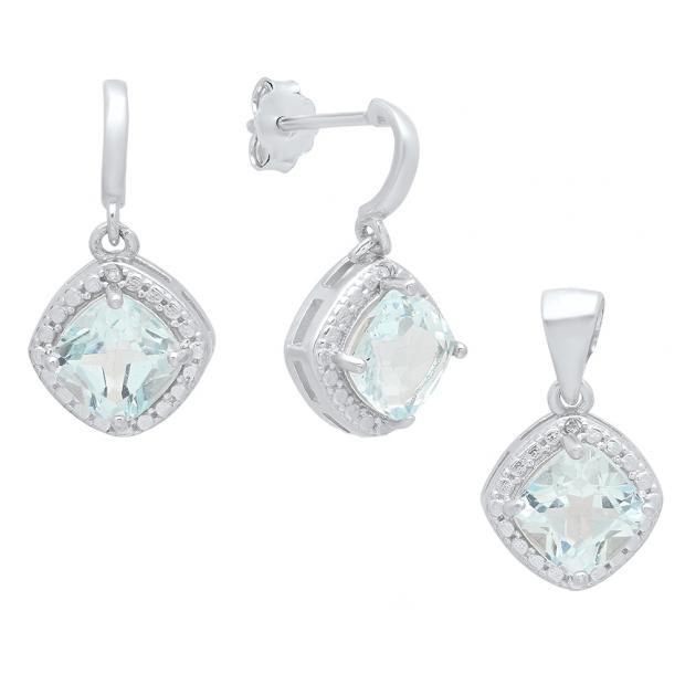 Sterling Silver Cushion Cut Blue Topaz & White Diamond Accent Ladies Dangling Earring & Pendant Set