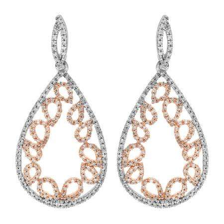 0.50 Carat (ctw) 14K Two Tone Gold Round Cut White Diamond Ladies Pear Shaped Dangling Drop Earrings 1/2 CT