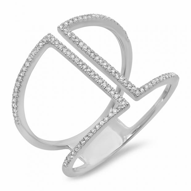 0.30 Carat (ctw) 14K White Gold Round Diamond Ladies Geometric Ring