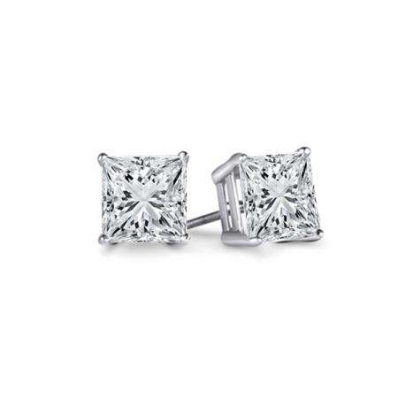 f22627a4b 0.33 Carat (ctw) 14K White Gold Princess Cut White Diamond Ladies Stud  Earrings