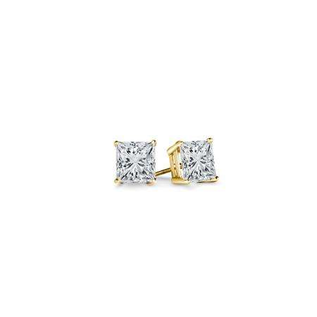 408c447ff 0.10 Carat (ctw) 14K Yellow Gold Princess Cut White Diamond Ladies Stud  Earrings