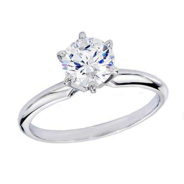 1.56 Carat (ctw) 14K WHITE GOLD REAL ROUND DIAMOND ENGAGEMENT RING
