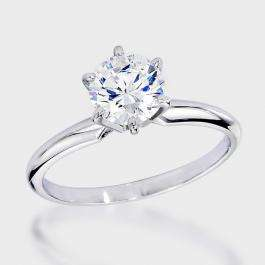 Certified 1.33 Carat (ctw) 14K White Gold Real Round Diamond Ladies Engagement Solitaire Ring