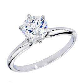 Certified 1.24 Carat (ctw) 14K White Gold Real Round Diamond Ladies Engagement Solitaire Ring 1 1/4 CT