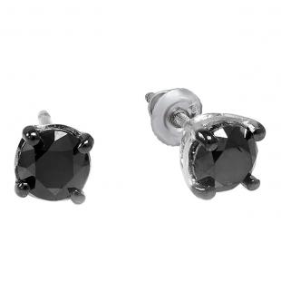 0.50 Carat (ctw) 10k White Gold Ladies Round Black Diamond Stud Earrings 4 mm wide 1/2 CT