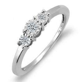 0.15 Carat (ctw) Sterling Silver Round Diamond Ladies Bridal Engagement Three Stone Ring Look of 0.50 CT total wt