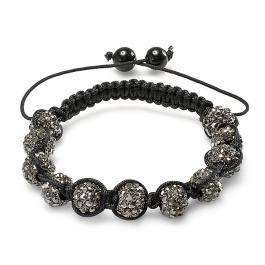 Shamballa Bracelet Pave Mens Ladies Unisex Hip Hop Style 10 mm Eleven Black Gunmetal Disco Ball Faceted Bead Unisex Adjustable