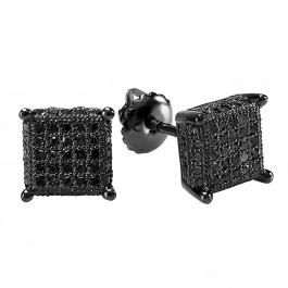 0.50 Carat (ctw) Sterling Silver Black Diamond Dice Shape Ice Cube Mens Hip Hop Iced Stud Earrings 1/2 CT