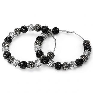 Paparazzi Celebrity Style Three Tone Gunmetal Fireball Crystal Bead Hoop Earrings (3.5 Inches Length x 14 MM Width)