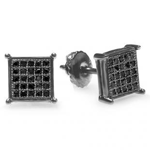 0.15 Carat (ctw) 10K Black Rhodium Plated White Gold Black Round Diamond Micro Pave Square Shape Hip Hop Iced Stud Earrings