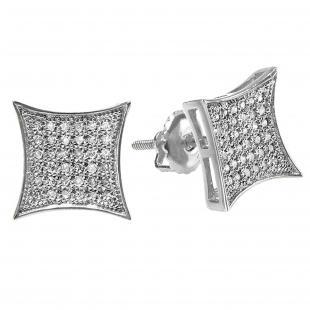 0.33 Carat (ctw) 10K White Gold White Diamond Kite Shape Mens Hip Hop Iced Stud Earrings 1/3 CT