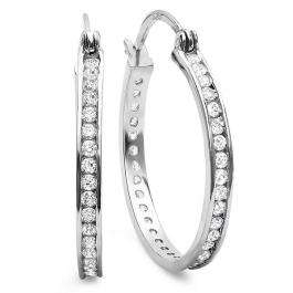 2.00 CT Sterling Silver Round Eternity CZ Cubic Zirconia Ladies Rhodium Plated Hoop Earrings (1.25 inch 2.7mm wide)