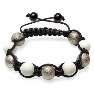 Shamballa Bracelet Men's Ladies Unisex Hip Hop Style 12mm Silver Tone White Crystal Pave Bead Adjustable