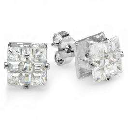 0.50 CT Clear Stud Earrings Square Invisible Cut Princess CZ 4MM Cubic Zirconia 4 Prong Setting Platinum Plated Pushback Post