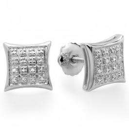 0.10 Carat (ctw) Platinum Plated Sterling Silver Real Diamond Kite Shape Mens Hip Hop Iced Stud Earrings 1/10 CT