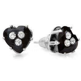 Platinum Plated 9mm Black Heart Cut with White Round CZ Cubic Zirconia Ladies Earrings