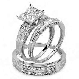 0.25 Carat (ctw) Sterling Silver Round White Diamond Men & Women's Micro Pave Engagement Ring Trio Bridal Set 1/4 CT