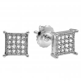 0.25 Carat (ctw) Platinum Plated Sterling Silver Real Round Diamond Dice Shaped Hip Hop Iced Cube Stud Earrings 1/4 CT