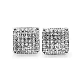 Platinum Plated White CZ Cubic Zirconia Square Cube Dice Shaped Mens Ladies Unisex Hip Hop Iced Stud Earrings 9 mm