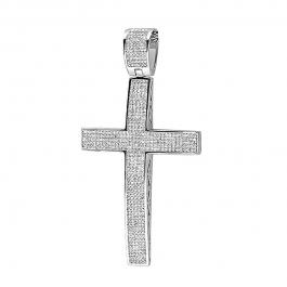 2.00 Carat (ctw) Sterling Silver White Diamond Micro Pave Mens Hip Hop Style Religious Cross Pendant Necklace FREE CHAIN