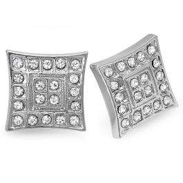 Platinum Plated Stud Earrings 16 mm Kite Shaped White Round Cubic Zirconia Iced Pushback Post