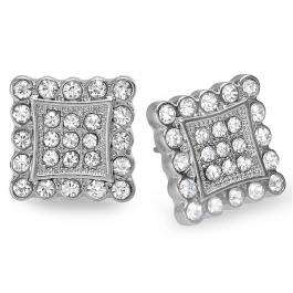 Platinum Plated Stud Earrings 12 mm Fancy Kite Shaped White Round Cubic Zirconia Iced Pushback Post