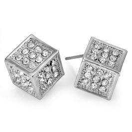 Platinum Plated Stud Earrings 14 mm x 11 mm Ice Cube Shaped White Round Cubic Zirconia Iced Pushback Post