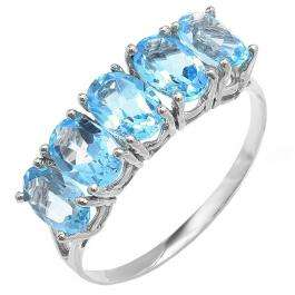 2.50 Carat (ctw) 10K White Gold Light Weight Oval Blue Topaz Gemstone Ladies 5 Stone Cocktail Ring